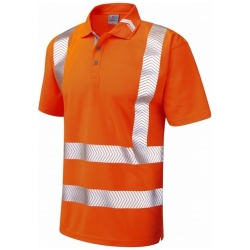 Leo Workwear P09-O BROADSANDS Hi Vis Coolviz Ultra Polo Shirt Orange
